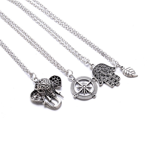 Bohemian Leaf Compass Elephant Multi Layer Necklace