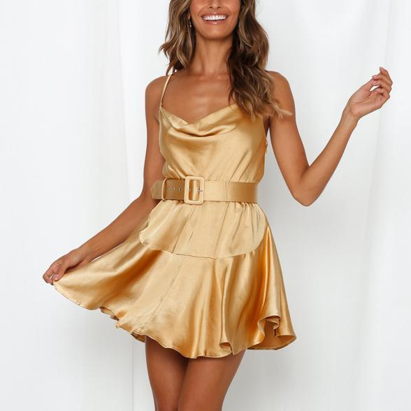 Sexy Shoulder Straps Solid Color Silk And Satin Mini Sexy Dress