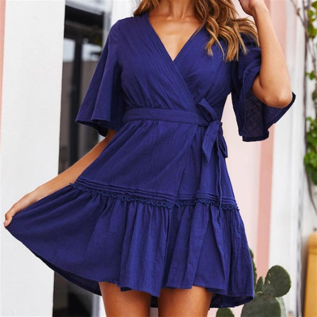 V-Neck Short-Sleeved Lace Mini-Sleeve Sweet Dress