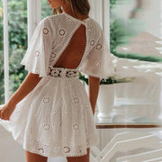 Sexy Perspective Round Neck Backless Lace-stitched Cotton Dress