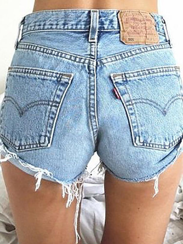 Pure Color Middle Waist Casual Denim Shorts
