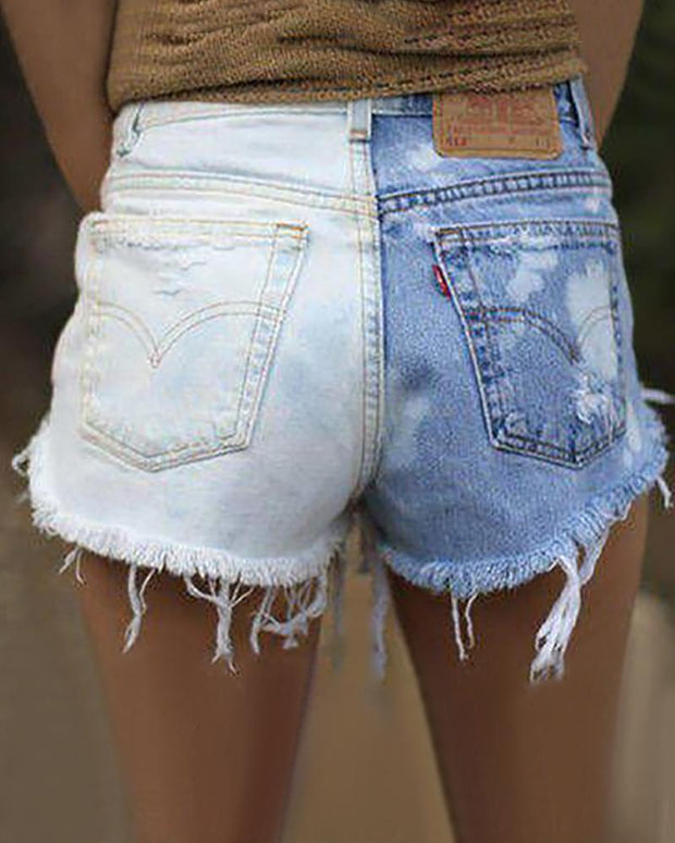 Fashion Two-Color Middle Waist Cowboy Shorts