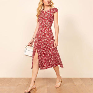 Literary V Neck Halflong Sleeve Printed Colour Midi Dress