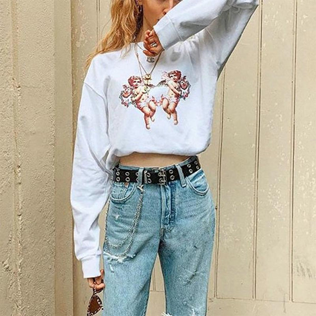 Women's Casual Round Neck Long Sleeve Printed Color Loose Sweatshirt