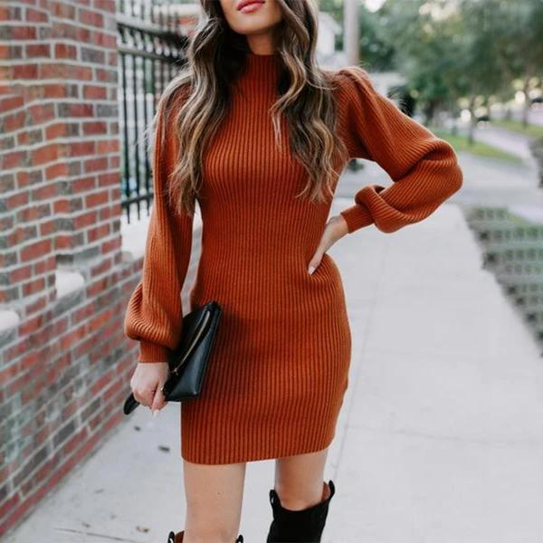 HIGH-NECK SLIM FIT SEXY THICK SKINNY KNITTED SWEATER DRESS