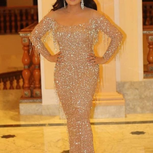 Fashion Sexy Shiny Sleeves Slim Tailed Evening Dress