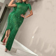 Fashion Half-High Collar Sequined Tassel Evening Dress