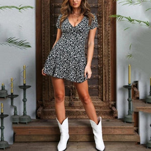 High Waist Deep V-neck Printed Slim Sweet Zip Dress