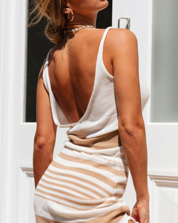 Woman fashion striped V-neck halter lace irregular mini dress