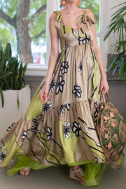 Stylish Apricot Floral Print Maxi Dress
