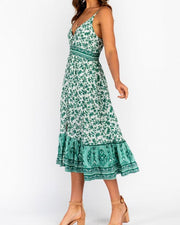 Camilia Green Print Maxi Dress