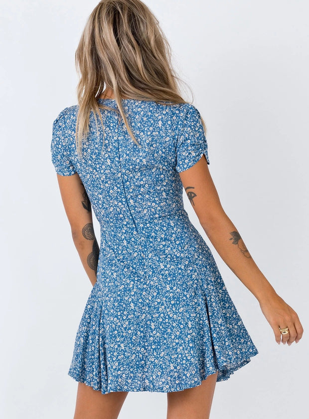 Woman street mid-rise floral V-neck mini dress
