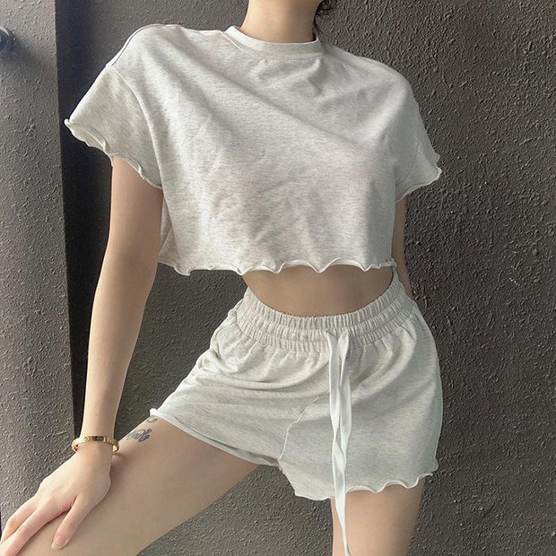 Woman casual solid color exposed navel wood sets
