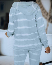Women Tie-Dye Stripe Hooded Loose Casual Style Sets