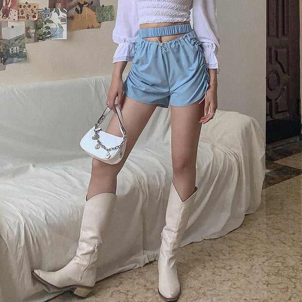Woman fashion wild solid color casual shorts