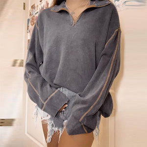 Casual Fold Collar Dark Gray Striped Long Sleeve Zipper Loose Sweatshirt