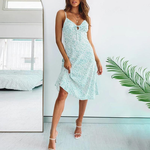 Sexy sling print holiday midi dress