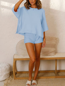 Woman  Simple Casual Loose Round Neck Shirt Shorts Knitted Sets