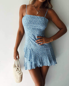 Blue Floral Strap Mini Dress