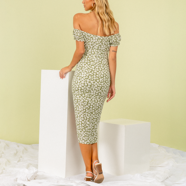 Square Collar Print Elegant Midi Dress