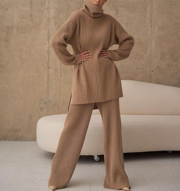 Women'S Temperament Plain High Neck Long Sleeve Sweater Lounge Suit