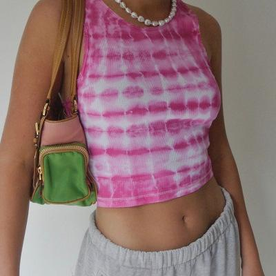 Tie-dye printed sleeveless top