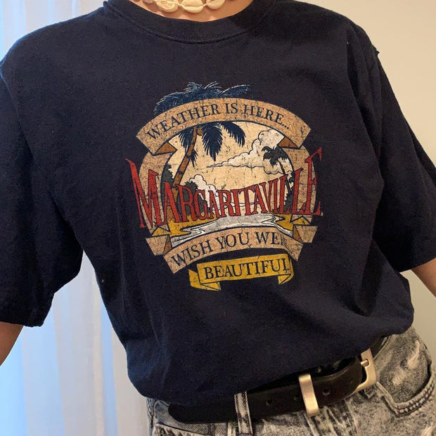 Women'S Casual Margaritaville Print T-shirt