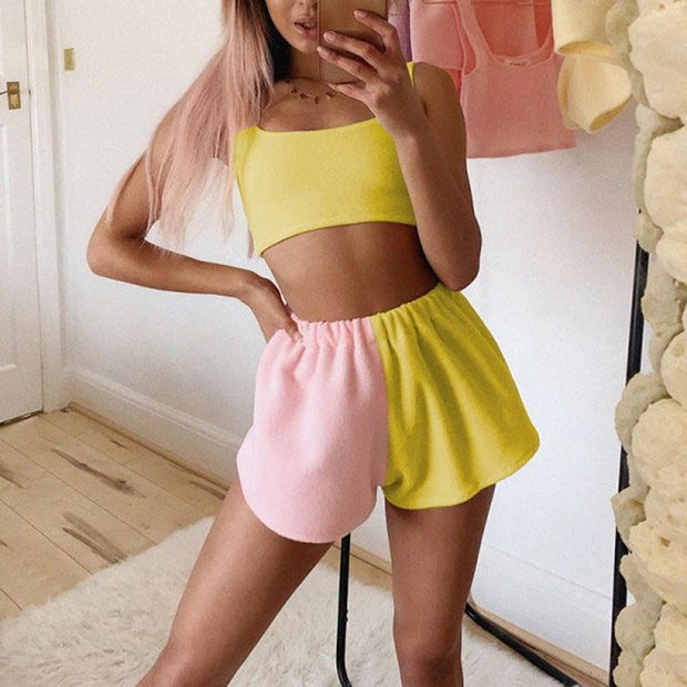 Contrast color casual sports loose high waist shorts