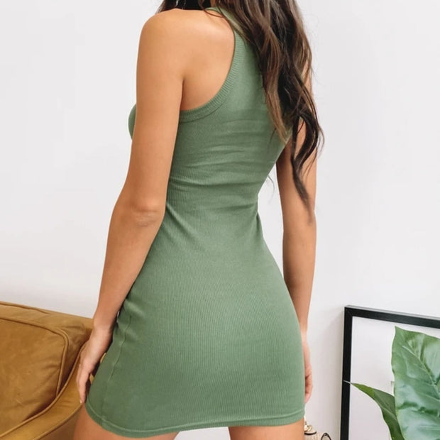 Woman fashion casual sexy vest mini dress