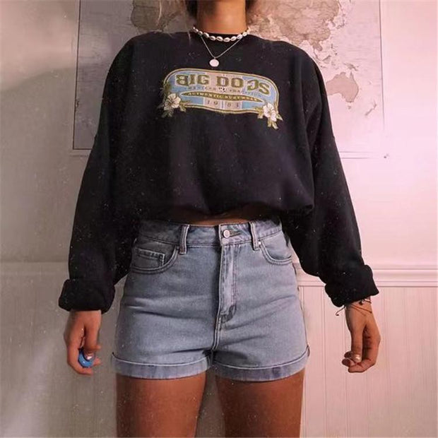 Letter printed round neck short sweater