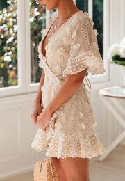 Women Sexy v-neck solid color lace hook flower Dress