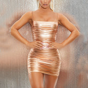 BRONZE COLORFUL SEXY SLIM MINI RUCHED CAMISOLE DRESS