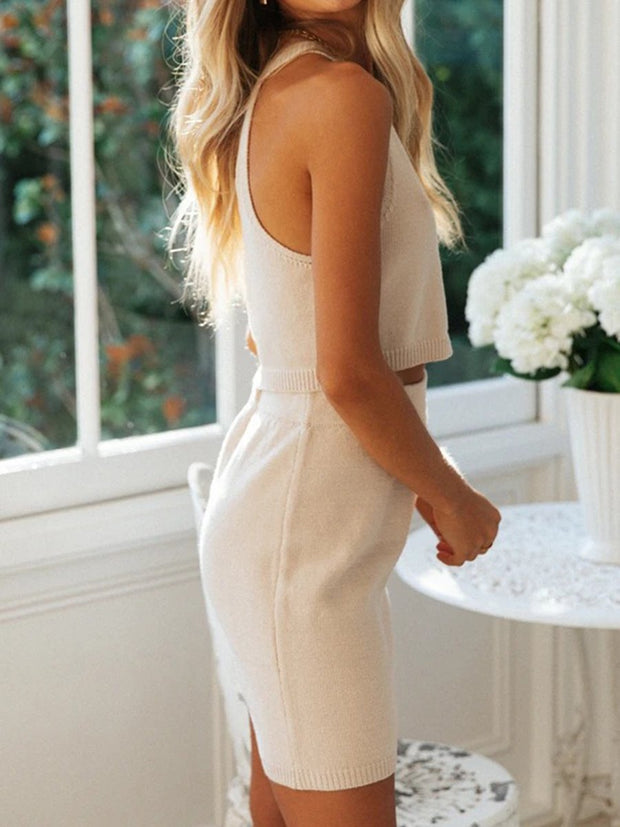 Simple And Elegant Dating Top Skirt Knit Suit