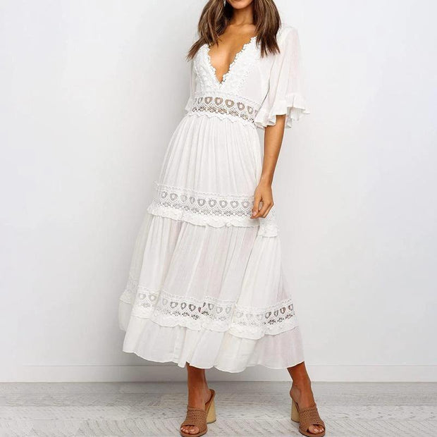 Woman Casual Fashion Short Sleeve Solid Color maxi Dress