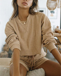 Woman Solid Color Round Neck Long Sleeve Sets