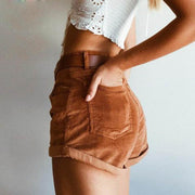 Women's corduroy high waist curled solid color loose shorts