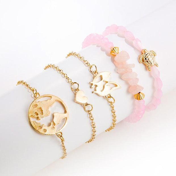 Women Fashion pink bead turtle irregular Bracelets