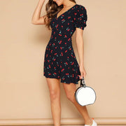 Woman Digital Print V-Neck Halter Lace High Waist Mini Dress