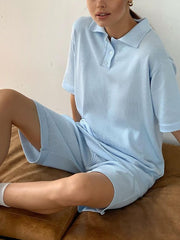 Temperament Casual Cotton And Linen Polo Collar Shorts Suit