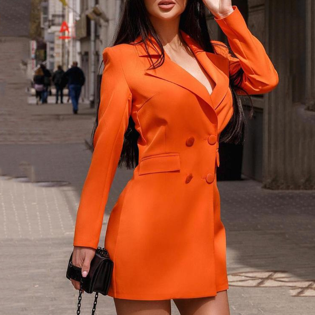 Solid Double Breasted Long Sleeve Blazer Dress