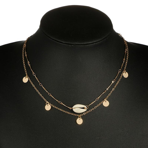 Woman fashion shell round pendant two-layer necklace