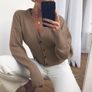 Women sexy V-neck buttoms knit coats