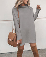 Woman solid color fashion long sleeve round neck mini dress