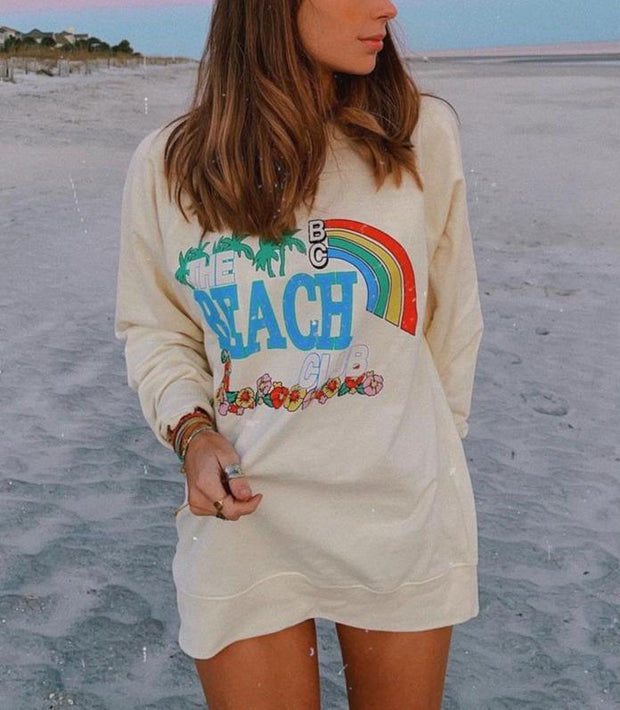 Casual The Beach Club Print Light Sweatshirt