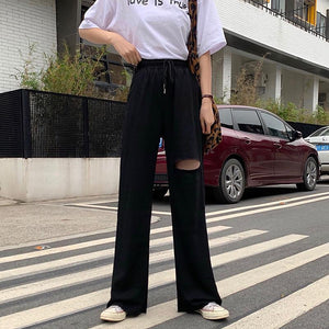 Woman High Waist Loose Slimming Holes All-match Pants