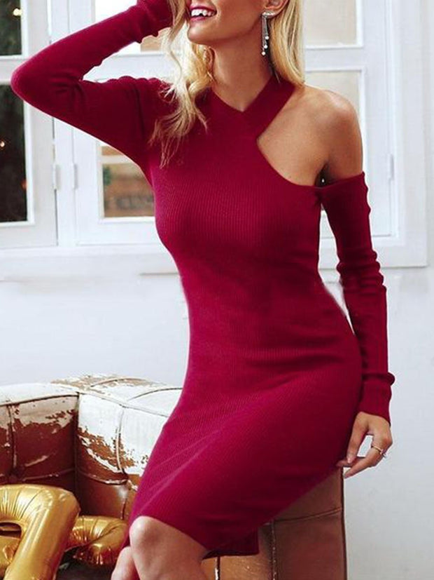 Slim Off Shoulder Knitting Solid Mini Bodycon Dress