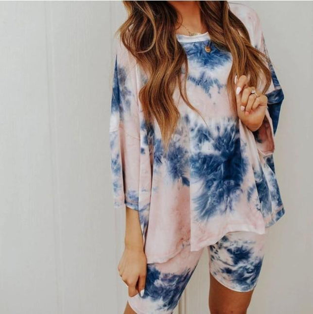 Women Comfortable Tie-Dye Round Neck Casual Sets