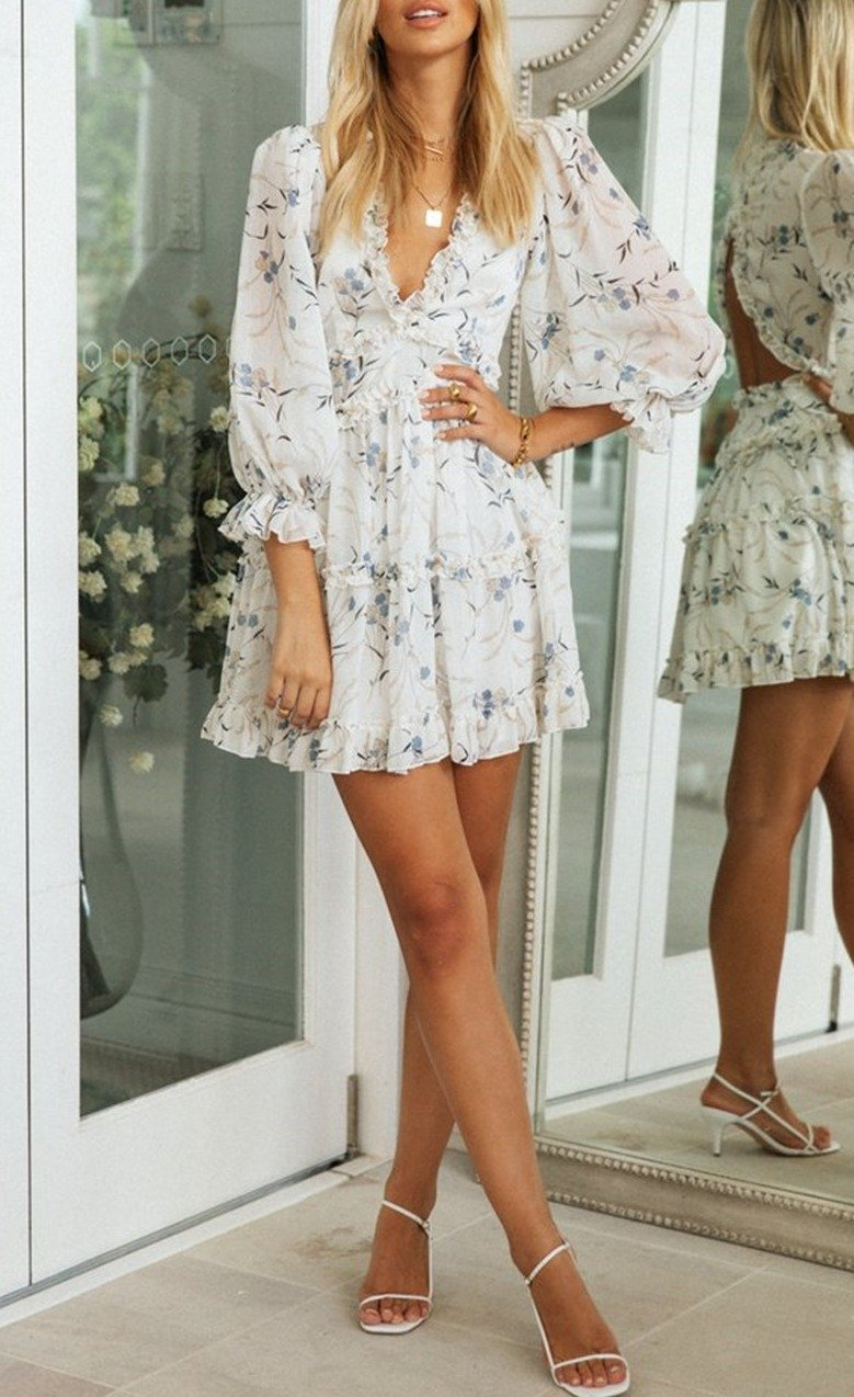 Women Open back V-neck ruffled long sleeve Mini Dress