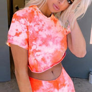 Tie-dye short section exposed navel slim short-sleeved T summer sports suit