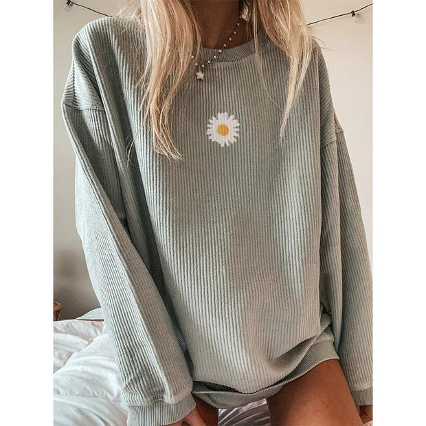 Casual Solid Floral Printed Long-sleeved Sweatshirts
